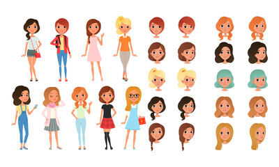 Teenage Girl Creation Set, Cute Girls in Fashionable Clothes with Various Haircuts, Faces, Poses Cartoon Style Vector Illustration