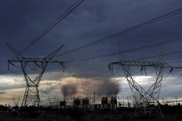 A steady stream of smoke spews out from the five exhaust chimneys belonging to the Tula power plant run by state-owned power company Comision Federal de Electricidad, or CFE, in Tula de Allende