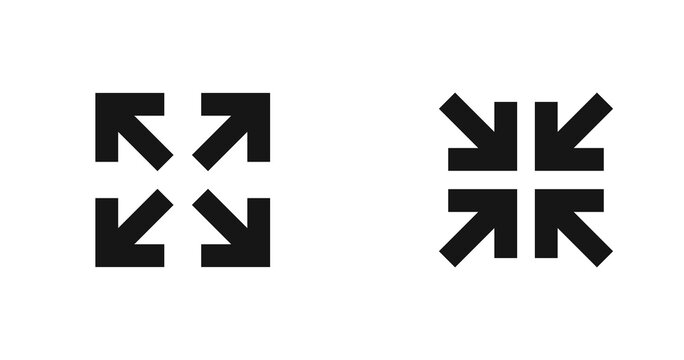 Arrow inside and out in square black icon. Set direction pointer abstract symbol. Vector