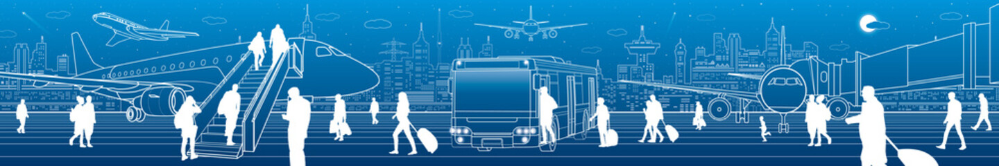 Airport panorama. The plane is on the runway. Aviation transportation infrastructure scene. Airplane fly, Passengers board the plane of bus. Night city at background, vector design art