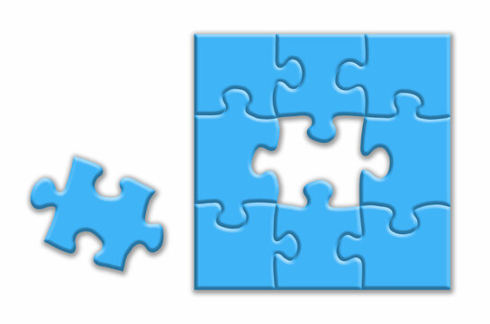 Blue puzzle with shadows on a white background.