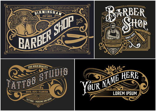 Vintage Logos organized by layers