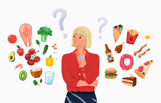 Choice between healthy and unhealthy food concept vector background. Happy young blond woman thinking about choosing menu. Difficult choosing. Flat illustration in cartoon style