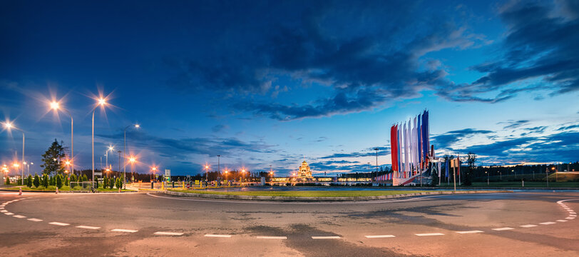 Kubinka, Moscow region, Russia. August 1, 2020. Night view of the Patriot Park and the main temple of the Russian Armed Forces