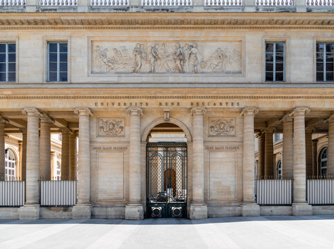 Paris, France - May 26 2020: Rene Descartes medical university frontage in Quartier Latin.