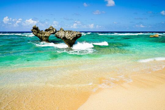 Kouri Island and Heart Rock Okinawa, Japan.