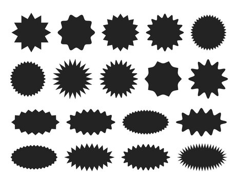 Starburst sticker set - collection of special offer sale round and oval sunburst labels and badges.