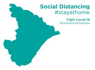 Sergipe Brazil map with Social Distancing stayathome tag