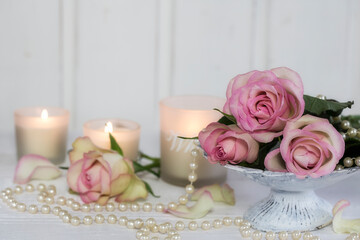 Romantic Roses Still Life With Pearls And Candles