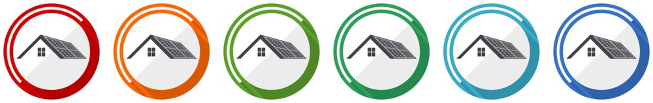 Solar panels on roof of a house, clean energy, power icon set, flat design vector illustration in 6 colors options for webdesign and mobile applications