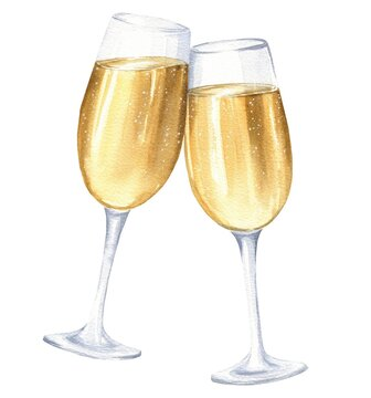 Hand drawn watercolor two glasses of champagne isolated on white back. Drink illustration.