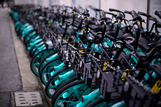 Shared bicycles locked by chains are seen following the coronavirus disease (COVID-19) outbreak in Shanghai
