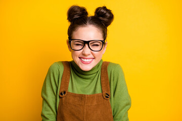 Closeup photo of attractive lady two funny pretty buns good mood high school student giggling...