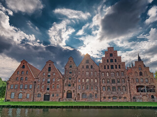 Old hanseatic warehouses in Lubeck panorama, Germany