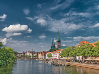 Old hanseatic town Lubeck in panorama, Germany
