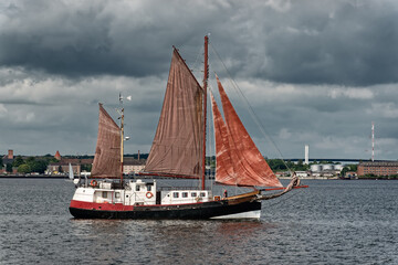 Vintage ships with sail in the Kiel fjord, Germany