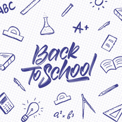 Vector Handwritten typographic lettering of Back to School with doodles supplies on sheet of exercise book background