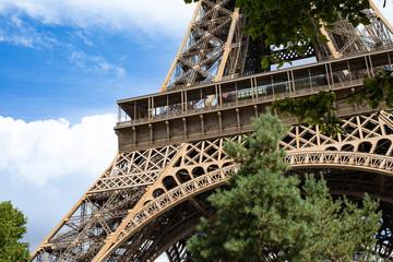 Eiffel Tower close up construction in paris
