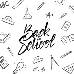 Vector Handwritten typographic lettering of Back to School with doodles supplies on white background