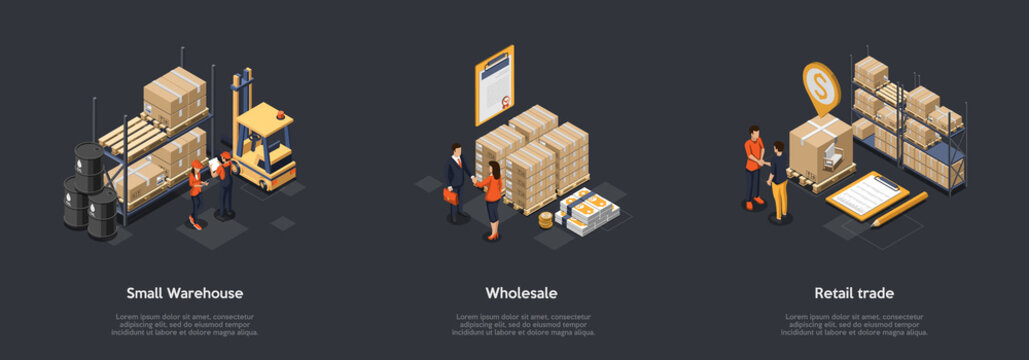 Concept Of Warehouse And Retail Trade. Business People Sign Contracts For Storage And Wholesale. Retail Trade With Storage Goods In Warehouse On Racks And Pallets. Isometric 3D Vector Illustration