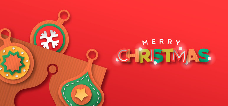 Merry Christmas 3d papercut buable ornament banner