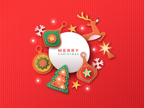Merry Christmas papercut decoration greeting card