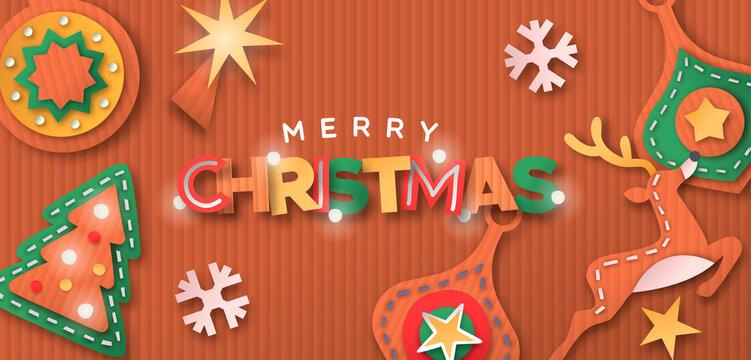 Christmas decoration cardboard paper craft banner