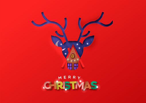 Merry Christmas paper cut deer winter house card