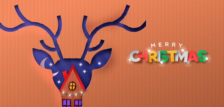 Merry Christmas paper cut deer winter house banner