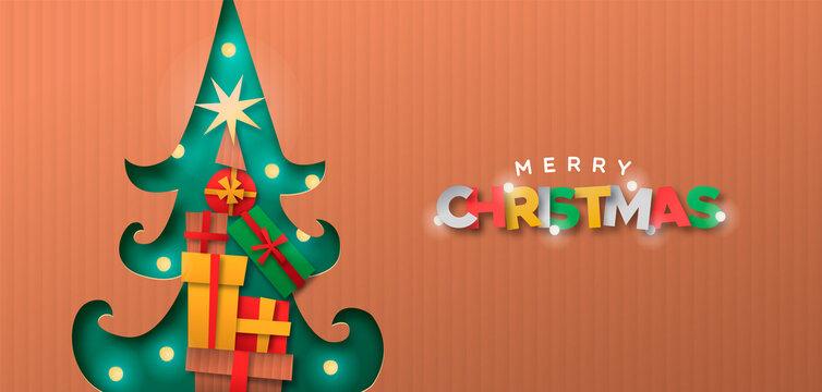 Merry Christmas papercut pine tree gift box banner