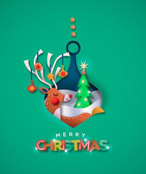 Merry christmas paper cut deer in bauble ball card