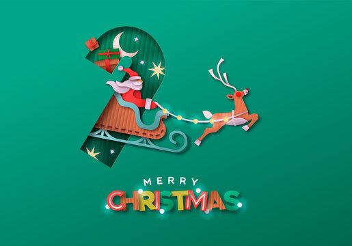 Merry Christmas papercut santa claus sled card