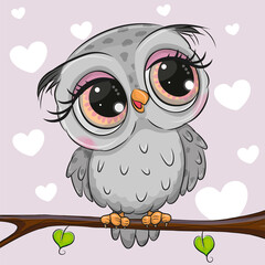 Cartoon Gray owl is sitting on a branch