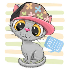 Cartoon Kitten with a pink cap on striped background