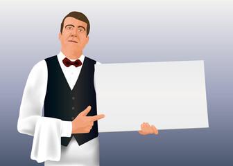 Dans un style graphique de bande dessinée, le serveur d'un restaurant gastronomique présente une pancarte blanche pour écrire un message publicitaire.