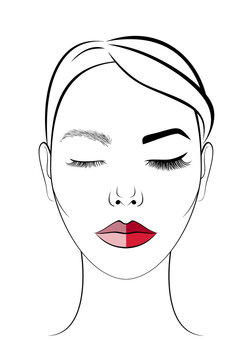 The face of a beautiful girl. Icon for beauty salon. Procedure for eyelash extension and permanent makeup. Eyebrow, eye, and lip tattoo before and after.