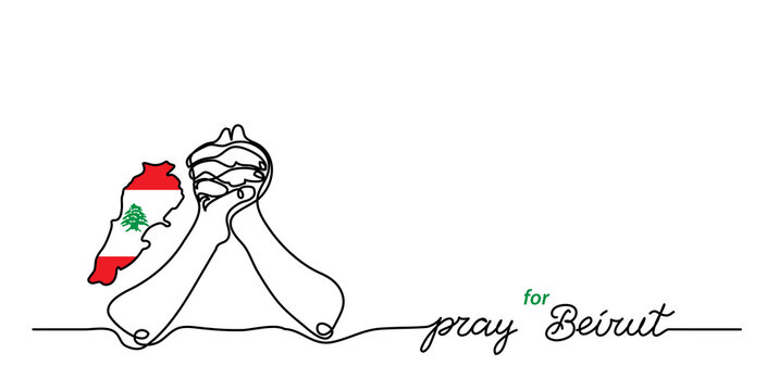 Pray for Beirut simple web banner, background with flag and map and pray gesture . One continuous line drawing with lettering Beirut.