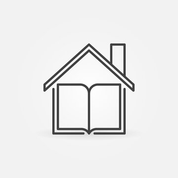 Book under the Roof linear vector Homeschooling concept icon or logo element