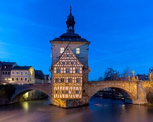 Bamberg. City Hall on the bridge.