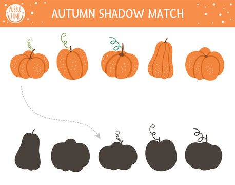 Autumn shadow matching activity for children. Fall season puzzle with cute pumpkins. Simple educational game for kids with vegetables. Find the correct silhouette printable worksheet. .