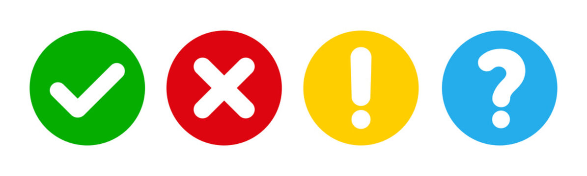 Check and cross, question mark vector illustration icon
