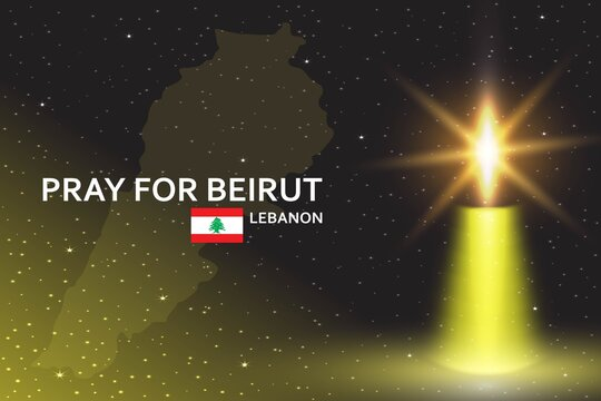 Pray for Beirut banner with realistic candle against the background of the starry sky