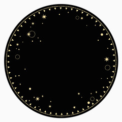 round end frame with gold star ornament