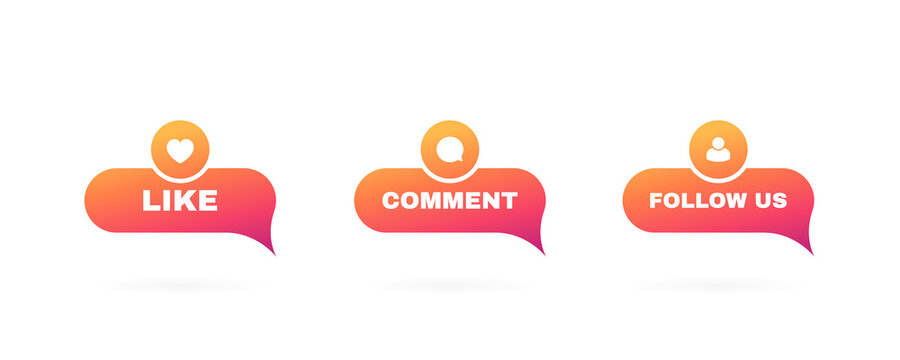 Like, comment and follow us label set on a white background. Modern flat style vector illustration