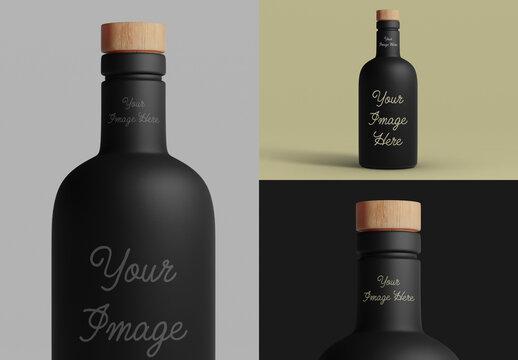 Black Matte Bottle Mockup