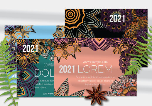 Flyer Layout with Mandala Lace Flower Colorful