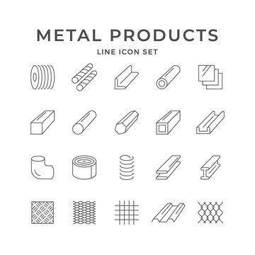 Set line icons of metal products