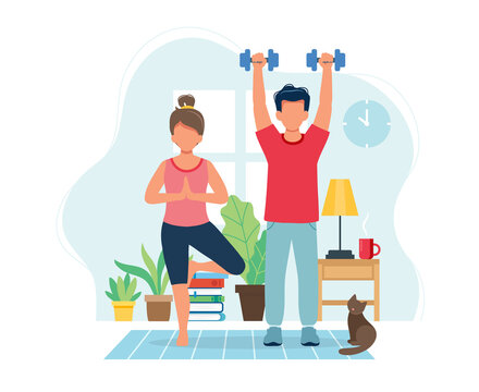 Stay home concept. People doing exercise in cozy modern interior. illustration in flat style