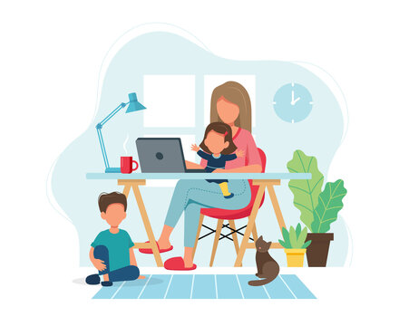 Home office concept. Woman working from home with kids in cozy modern interior. illustration in flat style