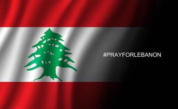 Pray for Lebanon wording hashtag to Beirut on Lebanon flag background from massive explosion, vector illustration